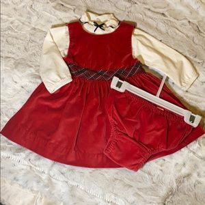 Baby Gap Christmas Red Velvet Dress 3pcs 3-6M
